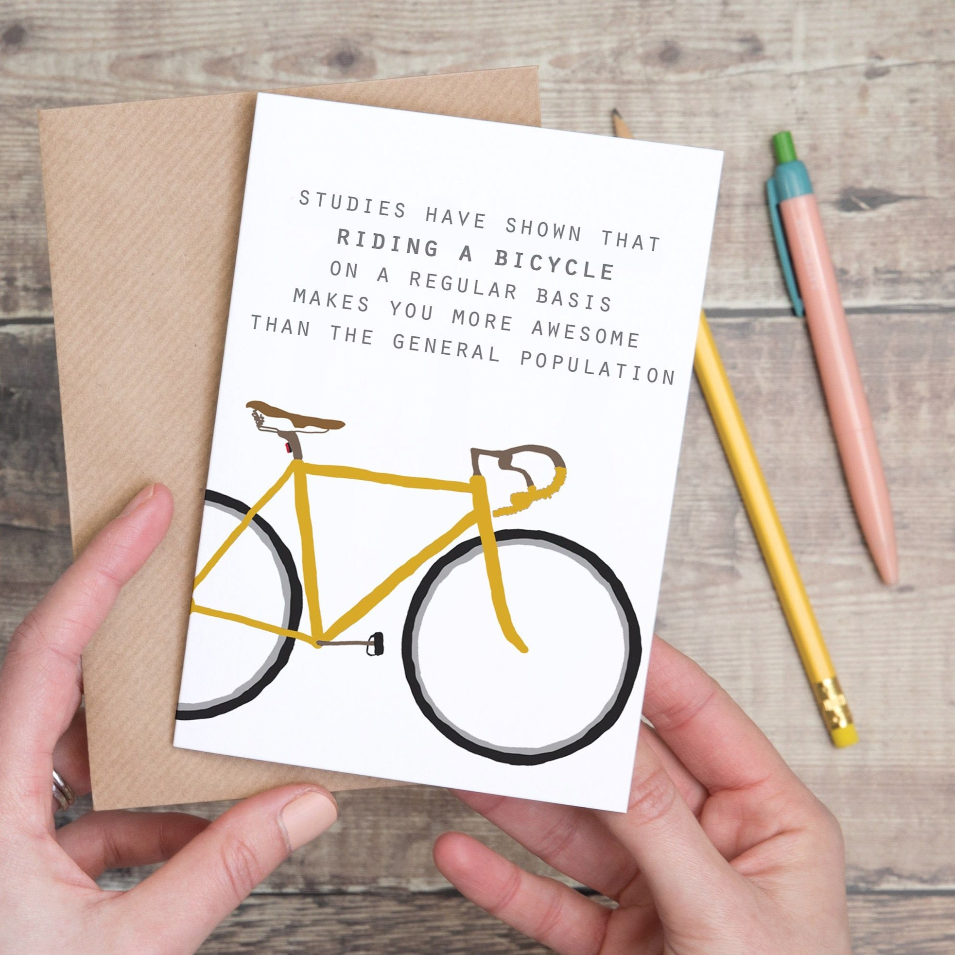 Yellow Bike Quote Card - Yellowstone Art Boutique