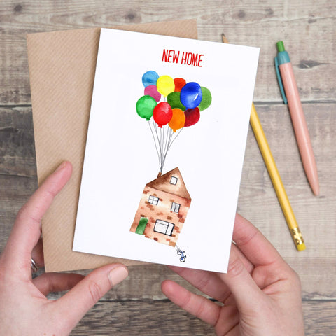 New Home House with balloons Card - Yellowstone Art Boutique