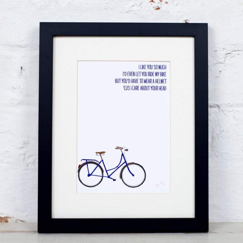 Bike Helmet Quote Art Print - Yellowstone Art Boutique