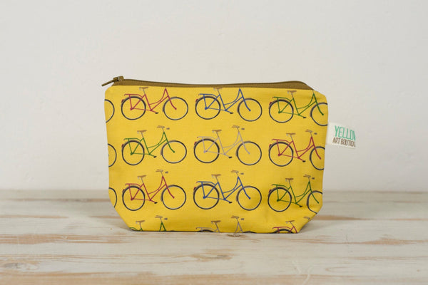 Mustard Yellow Bicycle Fabric Toiletry, Make Up Bag - Yellowstone Art Boutique