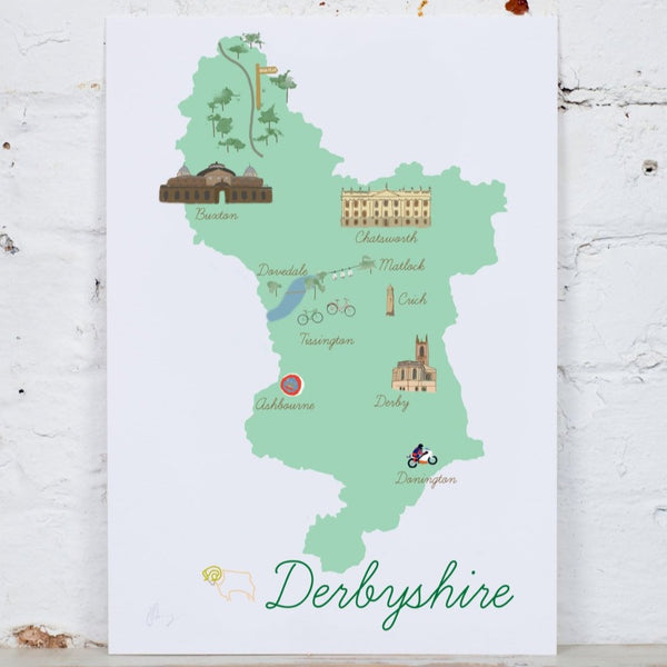 Derbyshire Map Art Print - Yellowstone Art Boutique