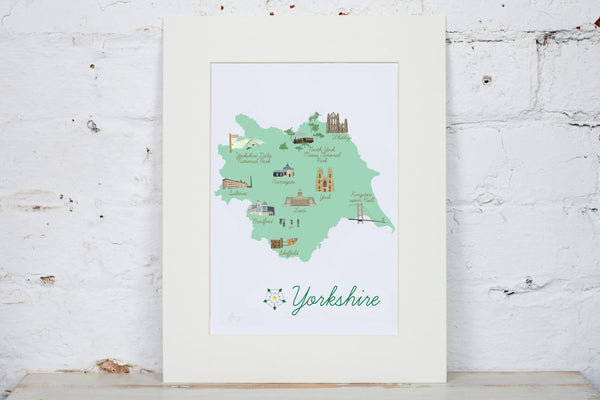 Yorkshire Map Art Print - Yellowstone Art Boutique