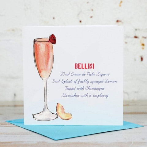 Bellini Cocktail Recipe Card - Yellowstone Art Boutique