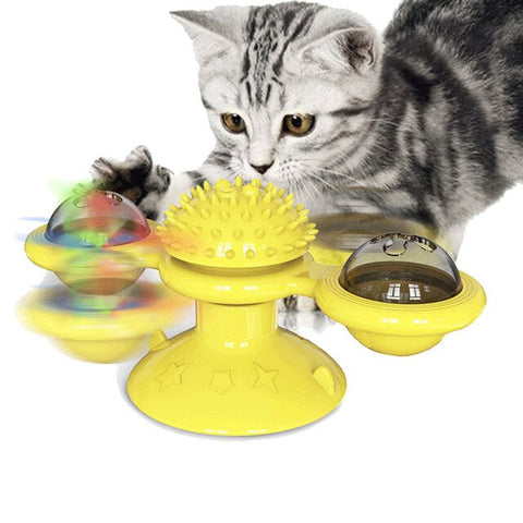 Windmill Cat Toy with Light Balls
