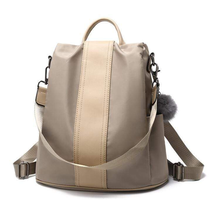 Buyshown Necklace&Rings Beige Cloth Premium Leather Three Way Anti-Thief Women's Backpack