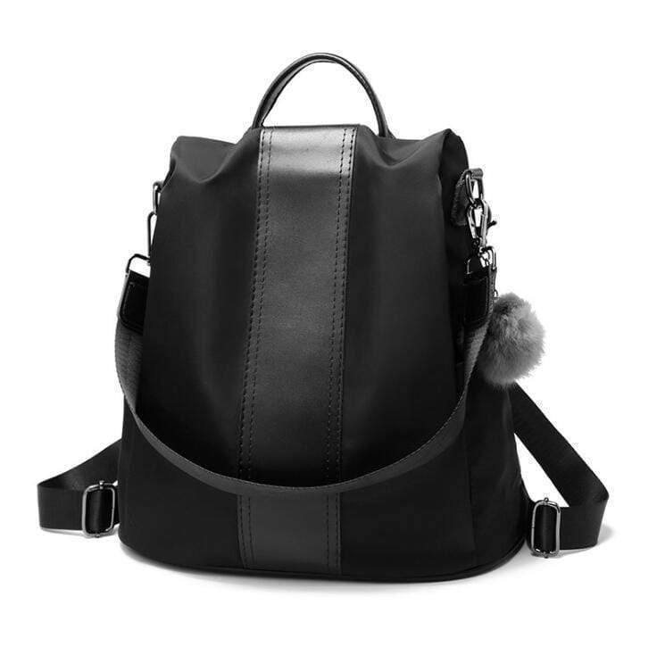 Buyshown Necklace&Rings Black Cloth Premium Leather Three Way Anti-Thief Women's Backpack