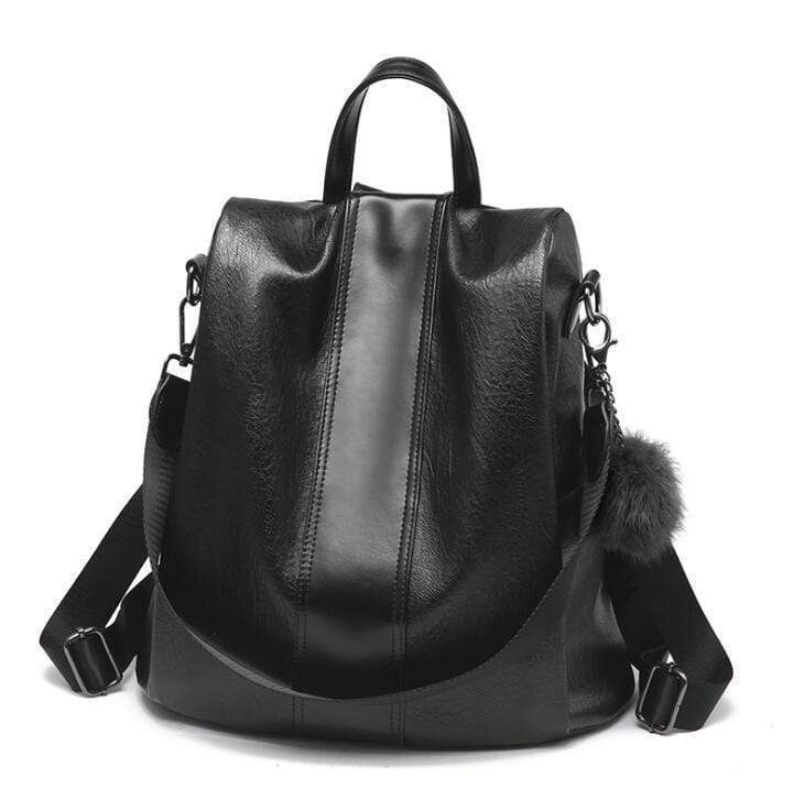 Buyshown Necklace&Rings Black Leather Premium Leather Three Way Anti-Thief Women's Backpack