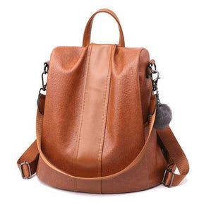 Buyshown Necklace&Rings Brown Leather Premium Leather Three Way Anti-Thief Women's Backpack