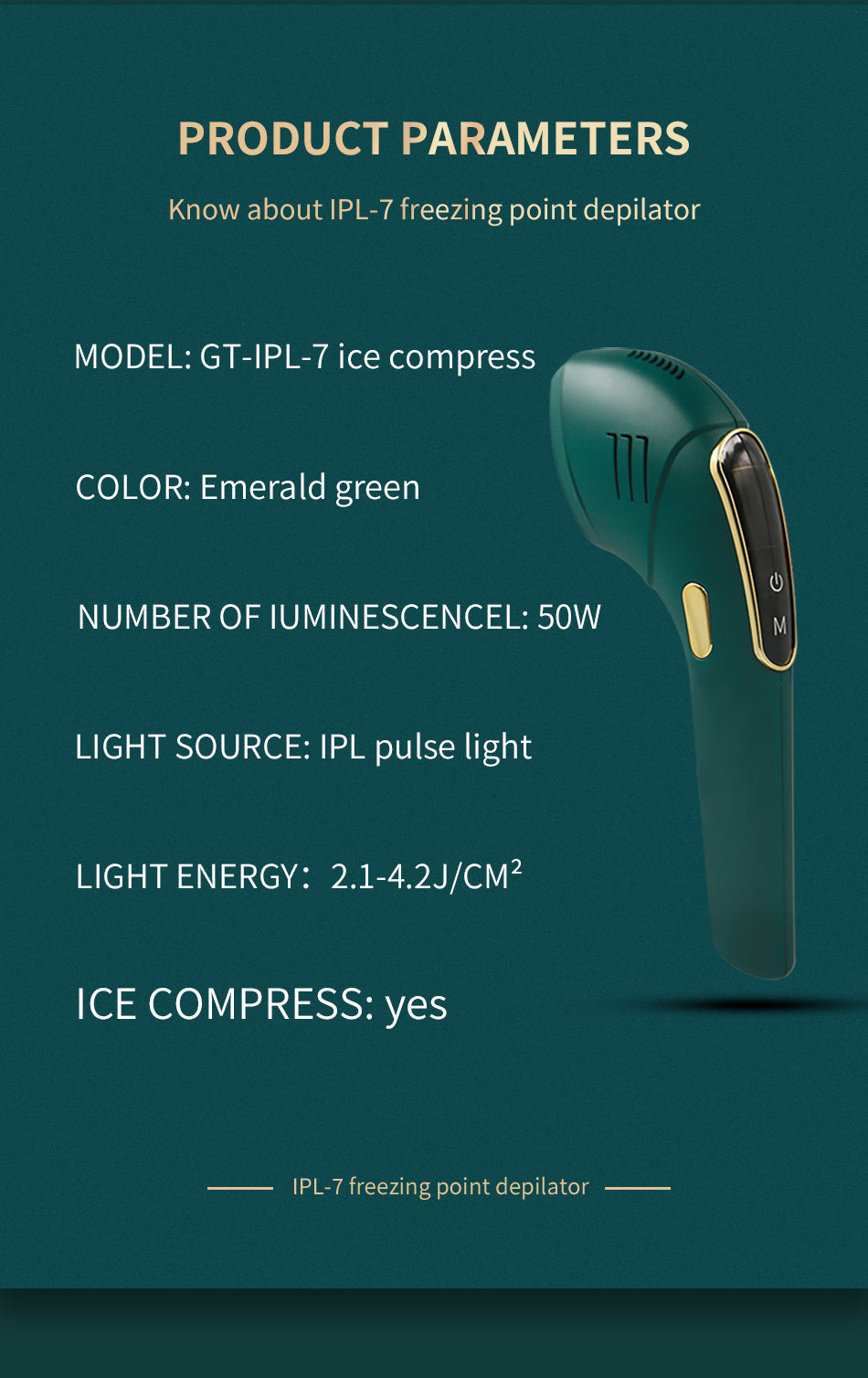 LCD IPL Hair Removal Handset- Ice Cool- Emerald Ice