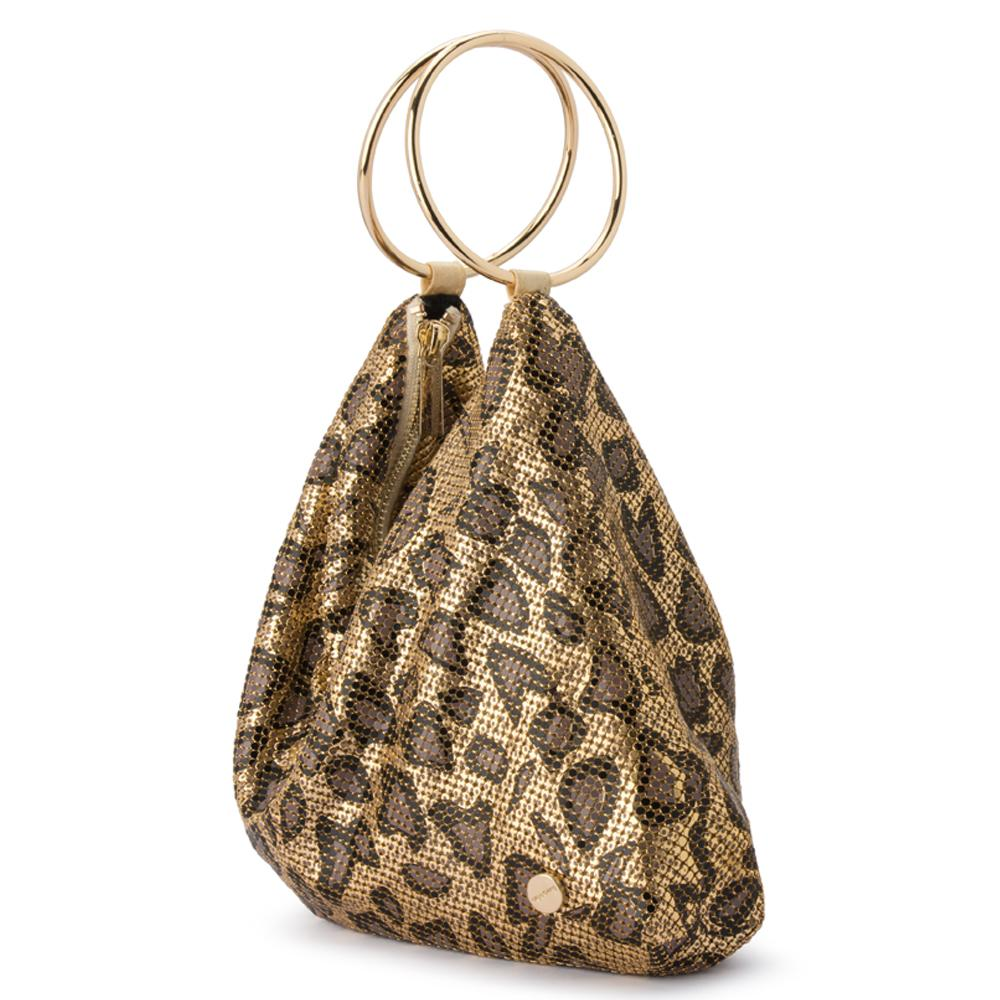 Olga Berg Tully Leopard Print Ring Handle Bag