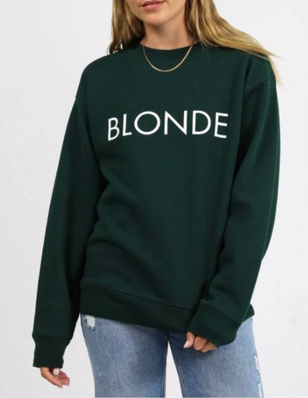 "Brunette the Label ""Blonde"" Core Crew Sweatshirt"
