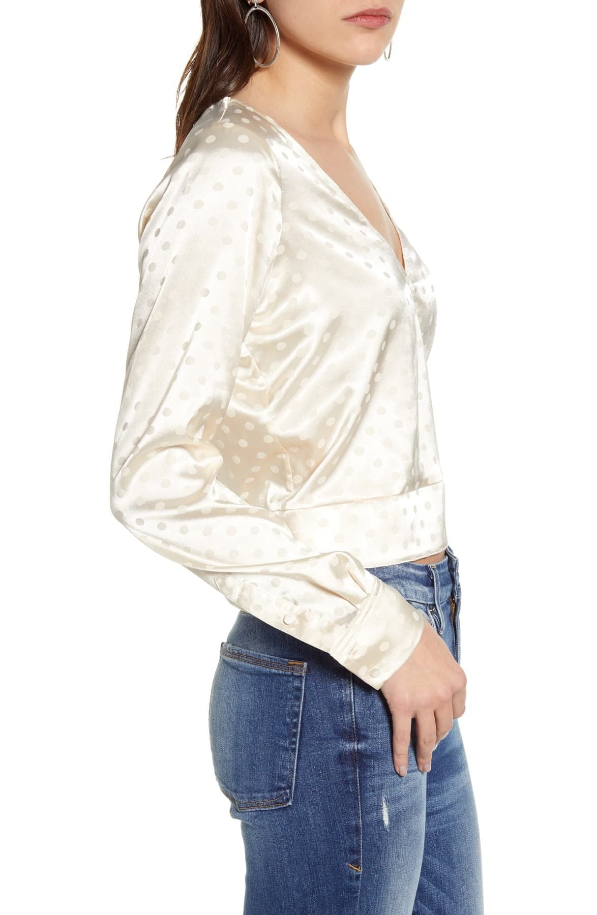 Good American Jacquard Dot Satin Top