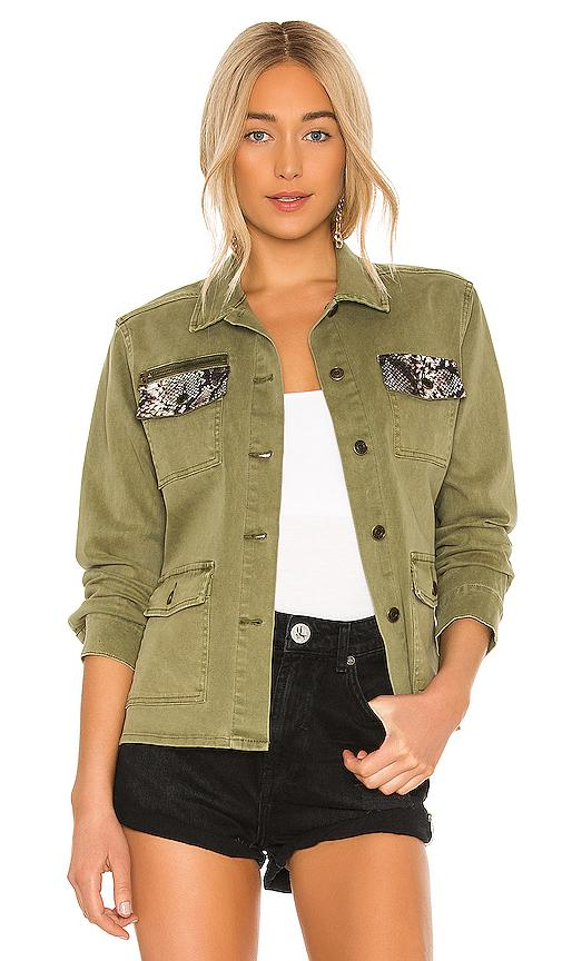Pam & Gela Army Shirt Jacket with Snakeskin Contrast - Izzy & Gab