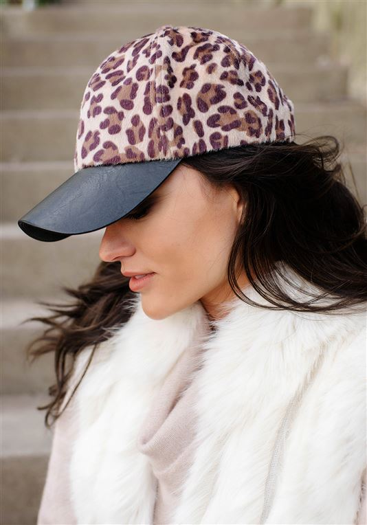 Fabulous Furs Black Hide Faux Fur Baseball Hat