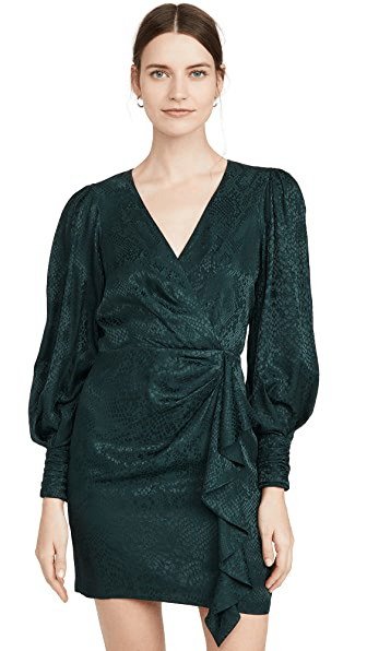 Parker Thelma Silk Blend Dress in Pine - Izzy & Gab