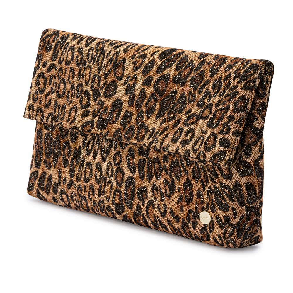 Olga Berg Sheina Metallic Leopard Fold Over Clutch