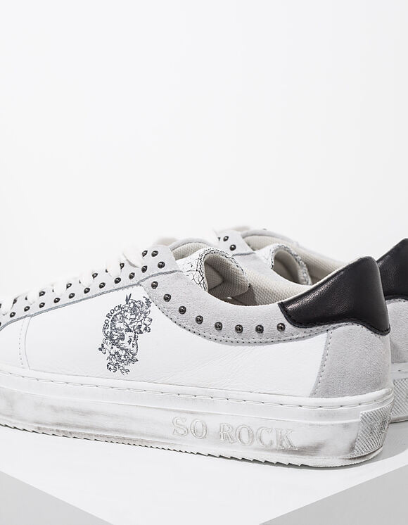 IKKS white SO ROCK graphic studded leather tennies
