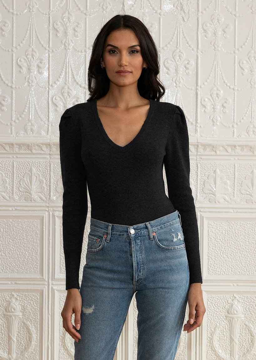 dh New York Carly Long Sleeved V-Neck Bodysuit Sweater