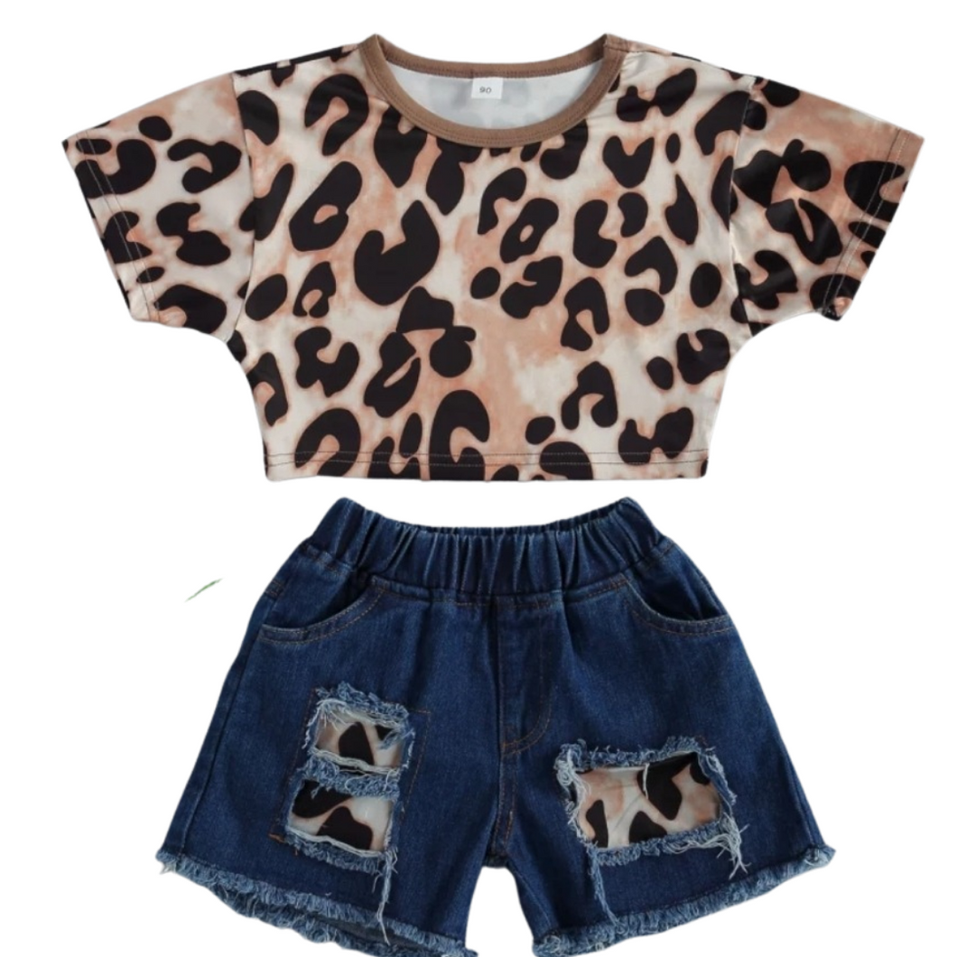 Leopard & denim short & t-shirt set