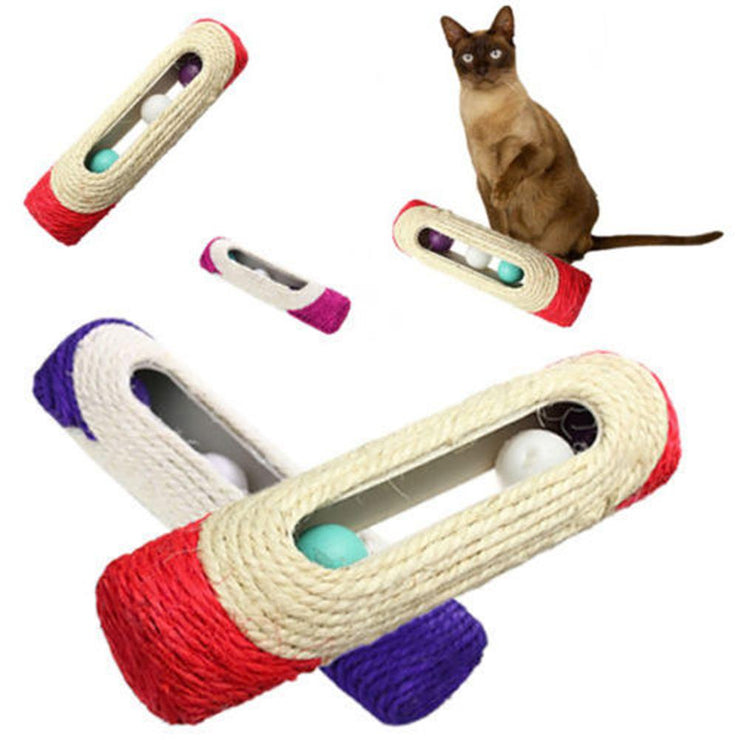 Cat Toy Pet Cat Kitten Kitty Toy Rolling Sisal Scratching Post with Trapped Ball Training Toys for Cat Pet Products Cat Toys - Pawsomatic
