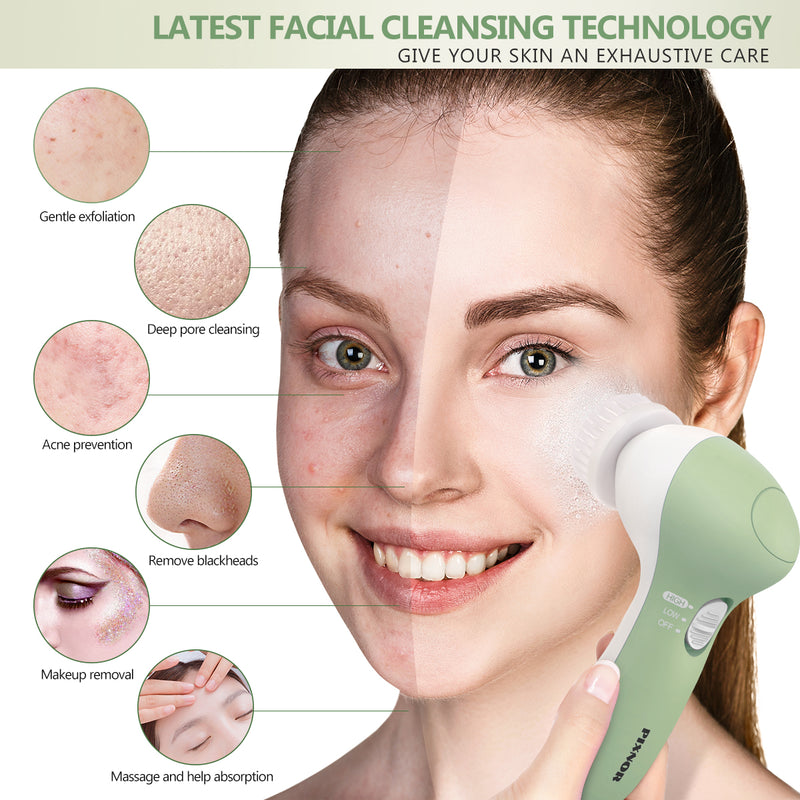 PIXNOR 7 in 1 Electric Facial Cleaning Brush Skin Care Beauty Device Spa Brush Skin Massage Tool - Classy & Unique
