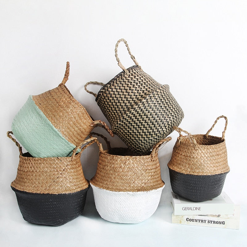 Rattan Straw Basket Wicker Seagrasss Folding Laundry Flower Pot Flower Vase Home Garden Hanging Basket Wedding Gift Basket - Classy & Unique
