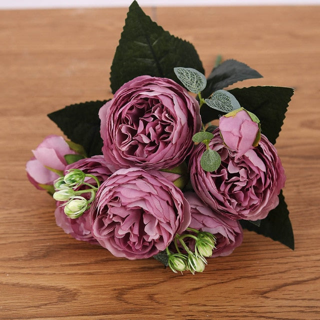 30cm Rose Pink Silk Bouquet Peony Artificial Flowers 5 Big Heads 4 Small Bud Bride Wedding Home Decoration Fake Flowers Faux - Classy & Unique