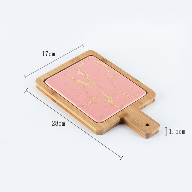 Nordic Golden Marble Texture Plate Ceramic Home Round Western Steak Dish Dessert Plate Square Tray Kitchen Cutlery Tray