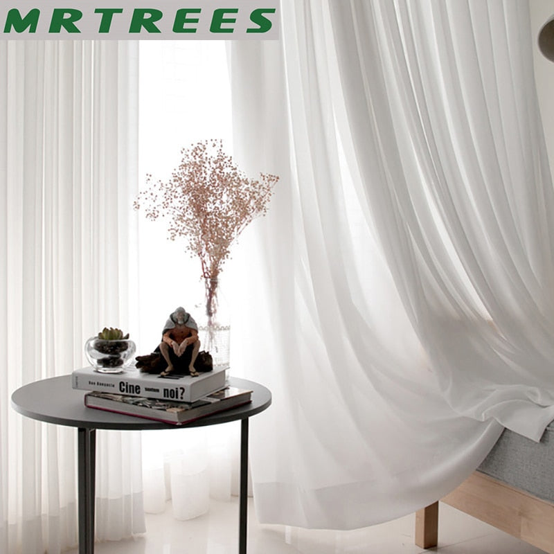 100% Polyester White Tulle Curtains for Living Room Decoration Solid Bedroom Modern Sheer Curtains to the Window Drapes Balcony - Classy & Unique