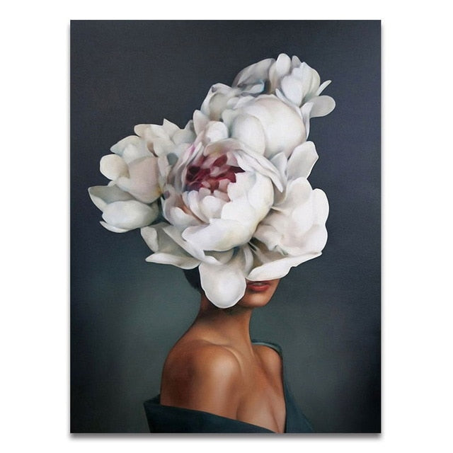 Floral Feather Woman Abstract Canvas Painting - Classy & Unique