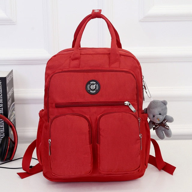 Fashion Woman Backpack Waterproof Nylon Soft Handle Solid Multi-pocket Travel Zipper - Classy & Unique