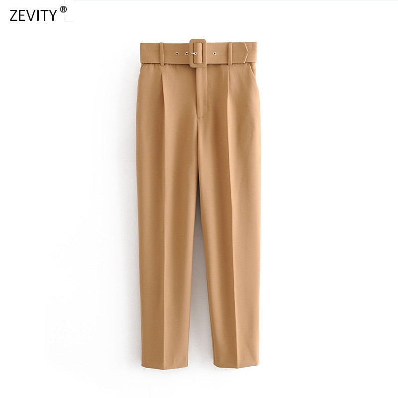 Women fashion solid color sashes casual slim pants chic business Trousers female fake zipper pantalones mujer retro pants P575 - Classy & Unique