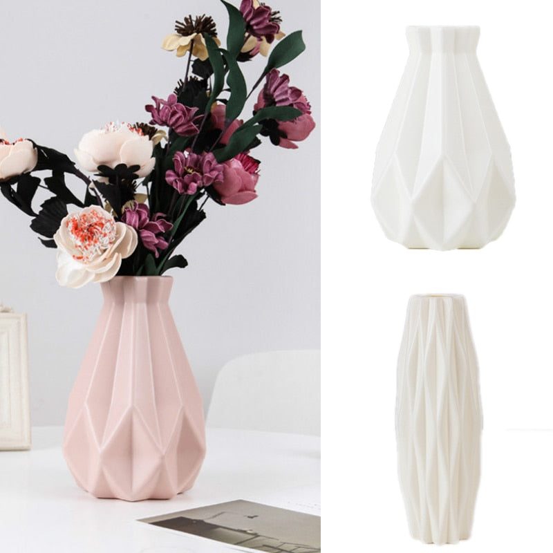 Flower Vase Decoration Home Plastic Vase White Imitation Ceramic Flower Pot Flower Basket Nordic Decoration  Vases for Flowers - Classy & Unique