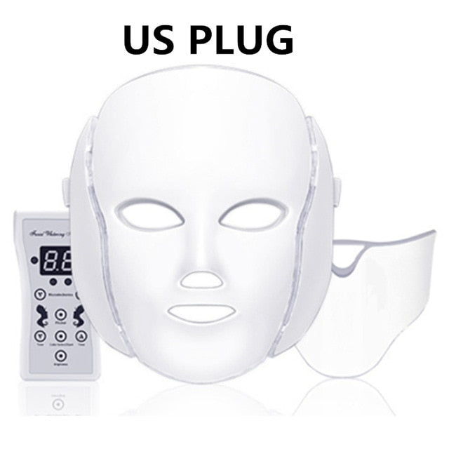 7 Colors Led Mask Skin Rejuvenation Photon Light Therapy Anti Aging Face Mask/ Machine Whitening Neck - Classy & Unique