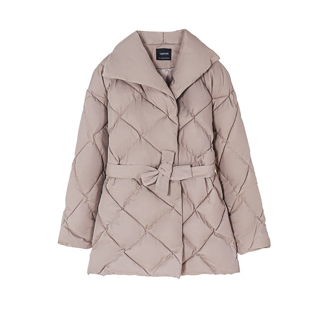 Winter Coat Women Puffer Jacket/ Belt Cotton-padded Outwear - Classy & Unique