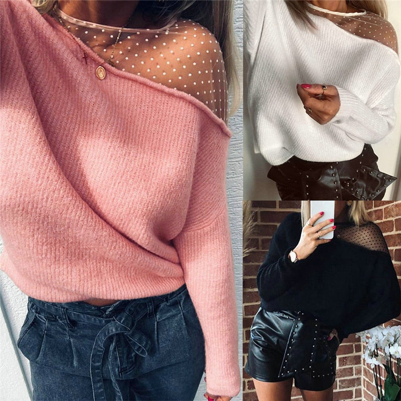 2020 Fashion Women Mesh Patchwork Blouse, Autumn Sexy Long Sleeve Round Neck One-shouldered Pullover Knitted clothes Wholesale - Classy & Unique