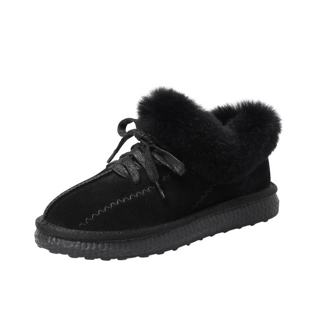 New Ankle Boots Cow Suede Leather Snow Boots Plush Fur Warm - Classy & Unique