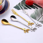Vintage Exquisite Branch Shape Small Coffee Spoon Royal Flatware For Snacks Kitchen Dining Bar Mini Dessert Spoon Cutlery Set - Classy & Unique