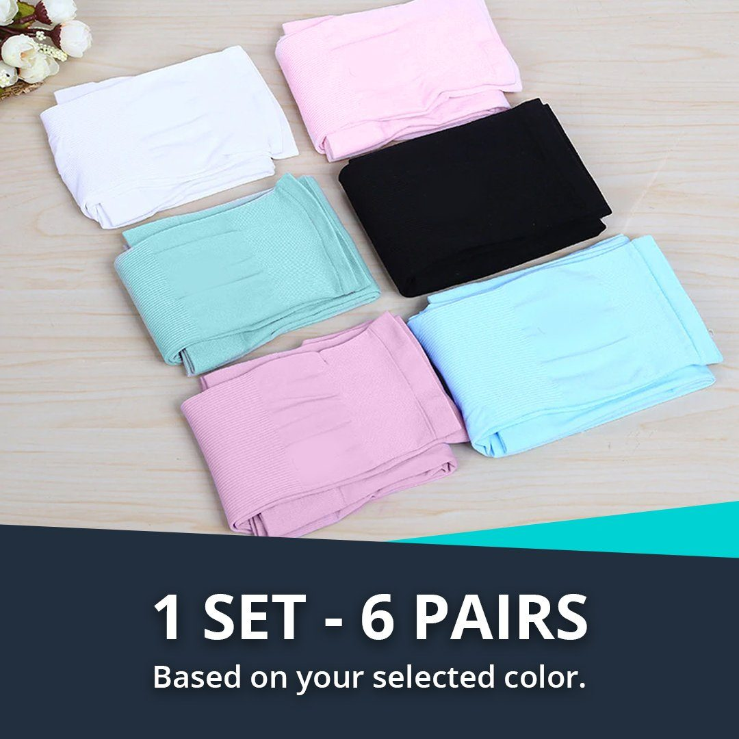 UV Protection Ice Silk Arm Sleeves - 6 pairs set