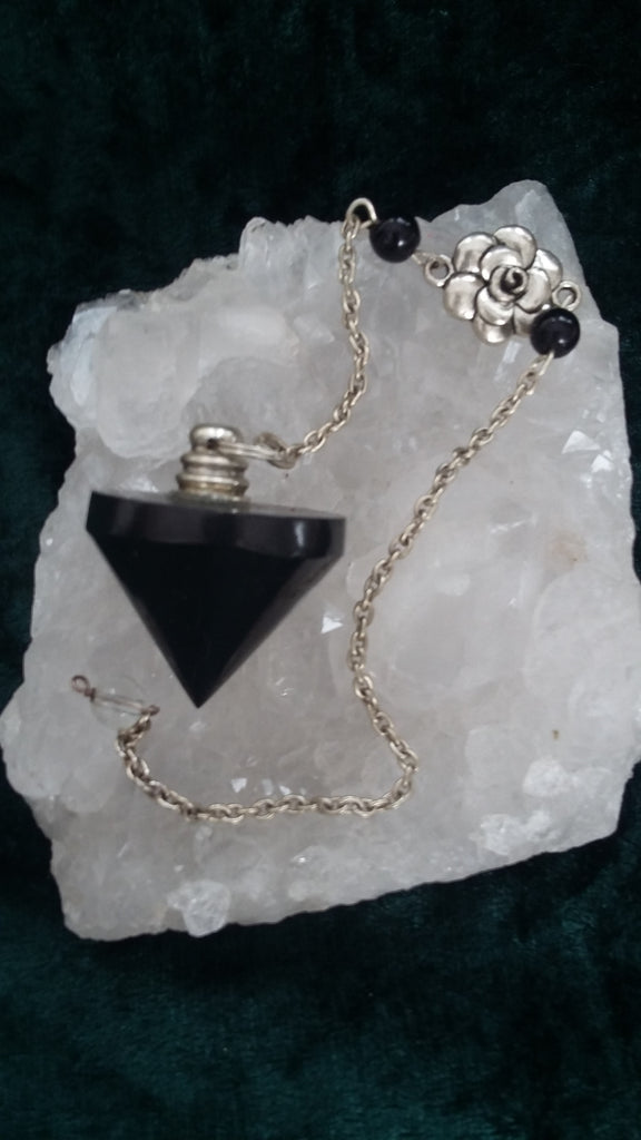 Black Onyx Cone Pendulum with Power Flower Chain