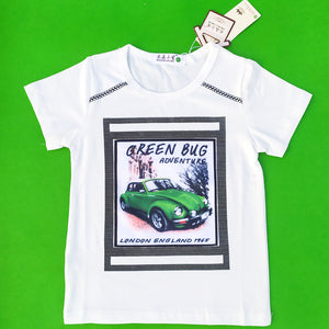 Green Bug White Imported Tee