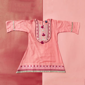 Peach Texture Embroidered Kurti