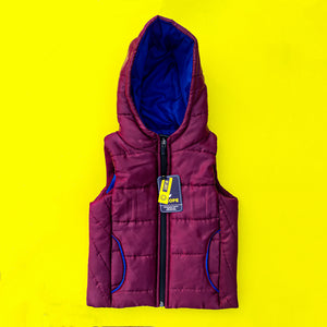 Maroon Sleeveless Puffer Jacket