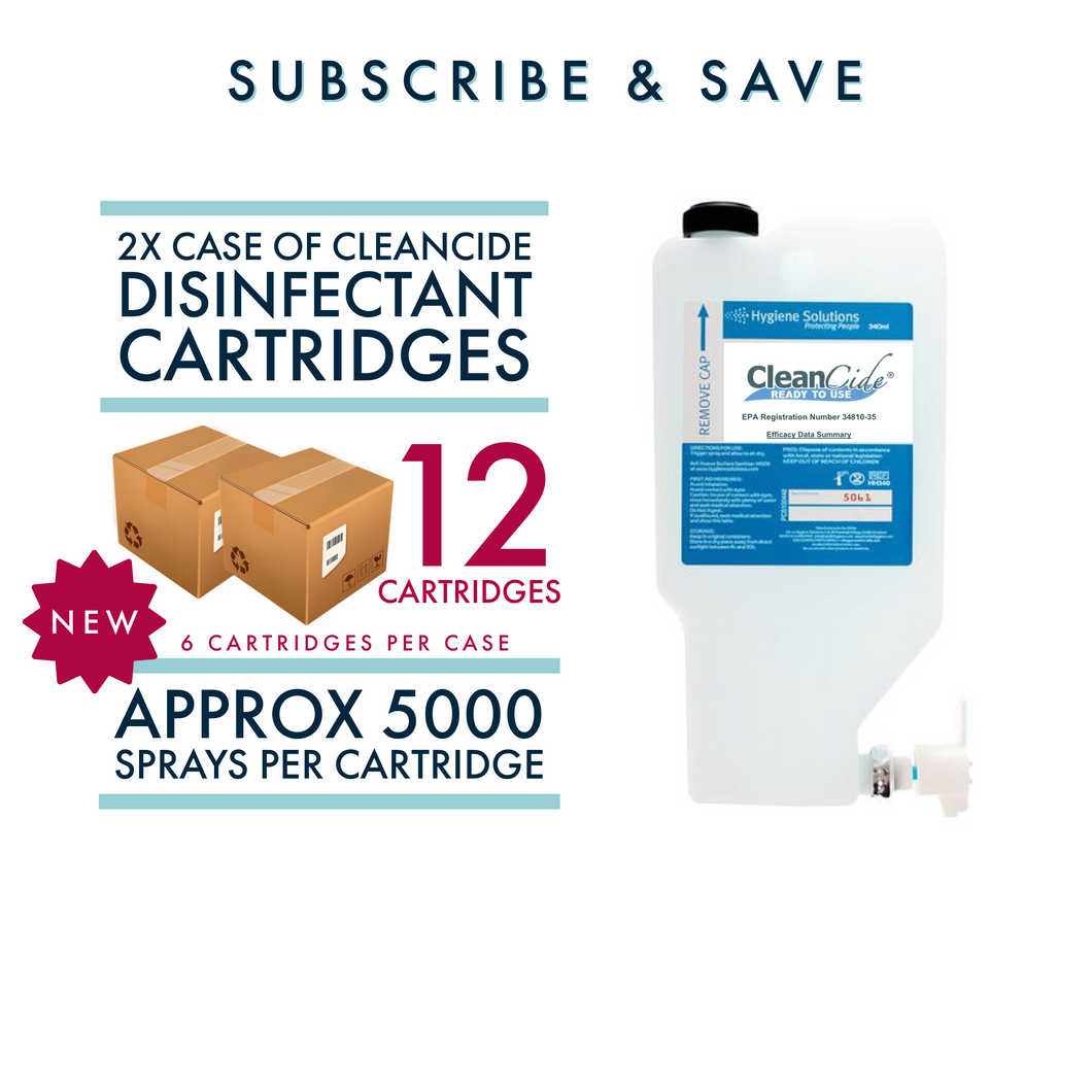 2x Cases ( 12 cartridges ) Of CleanCide RTU Disinfectant Cartridges