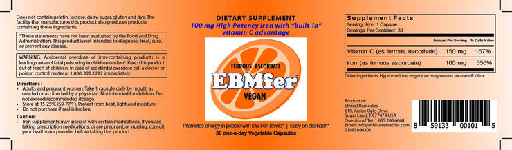 EBMfer iron 30 capsules Vegan- USA-Ethical Remedies