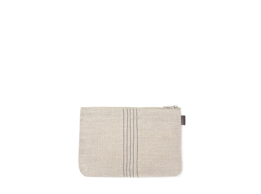 Black Stripe Linen Pouch