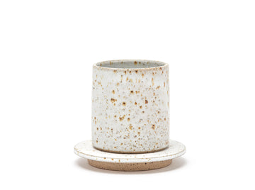 White Speckle Ceramic Cup + Saucer