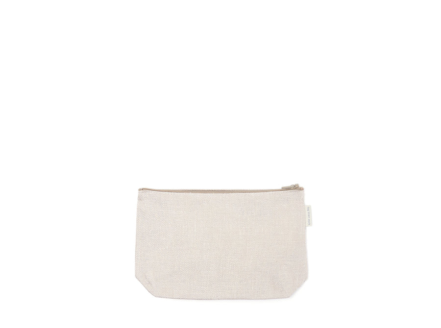 Fog Linen Work White Linen Denim Pouch