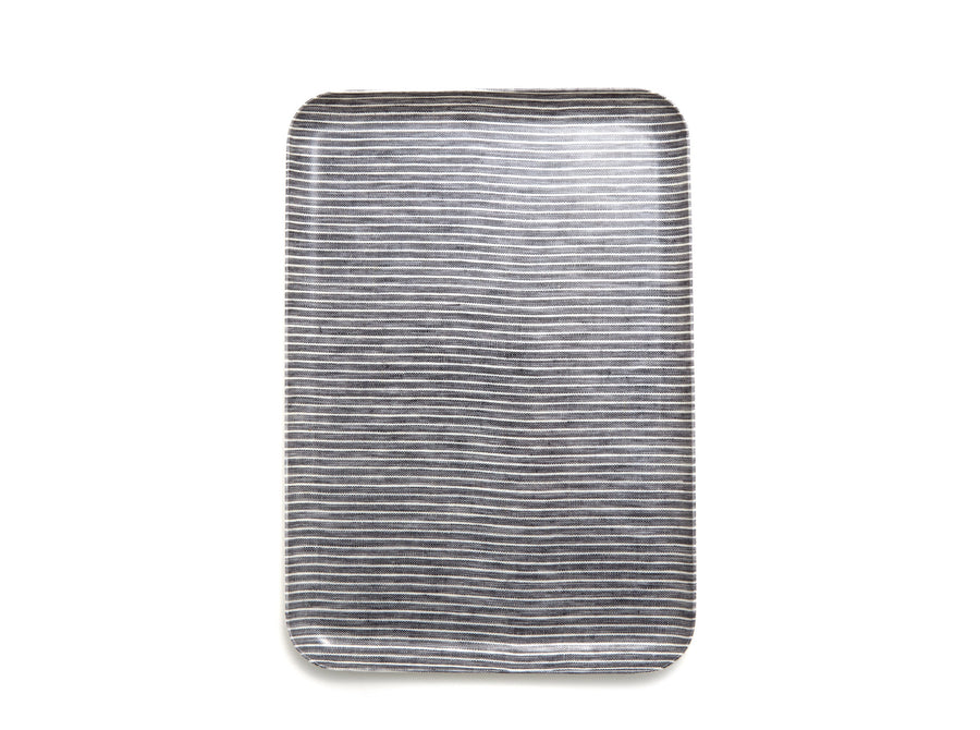 Grey Striped Linen Tray