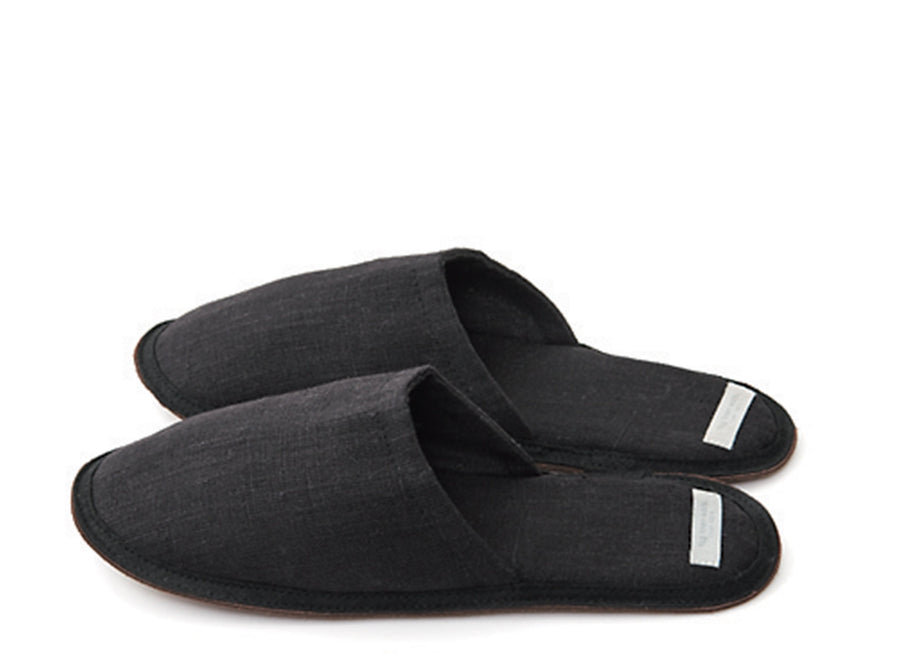 Graphite Linen Slippers